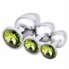Akstore Light Green Jewelry Design Stainless Steel Butt Plug Set