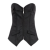 Mumentfienlis Zipper Front Striped Plus Size Corset with Skirt